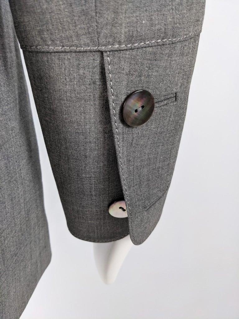 Gai Mattiolo Vintage Womens Grey Wool Asymmetric Blazer Jacket 3