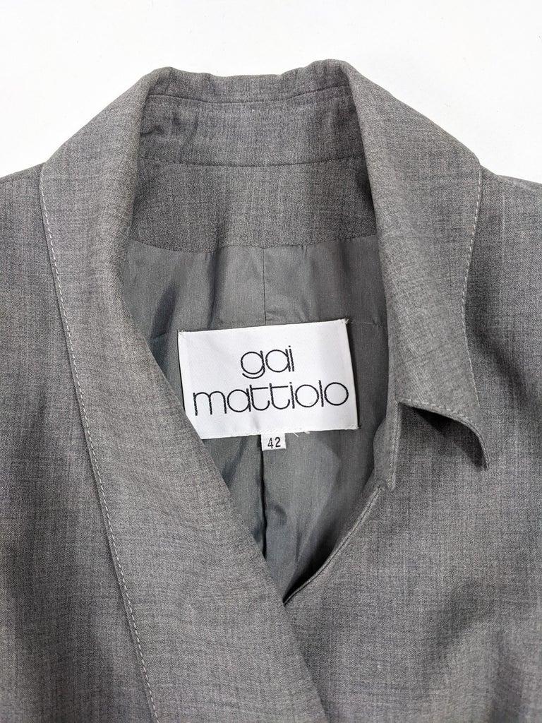 Gai Mattiolo Vintage Womens Grey Wool Asymmetric Blazer Jacket 4