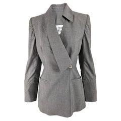 Gai Mattiolo Vintage Womens Grey Wool Asymmetric Blazer Jacket