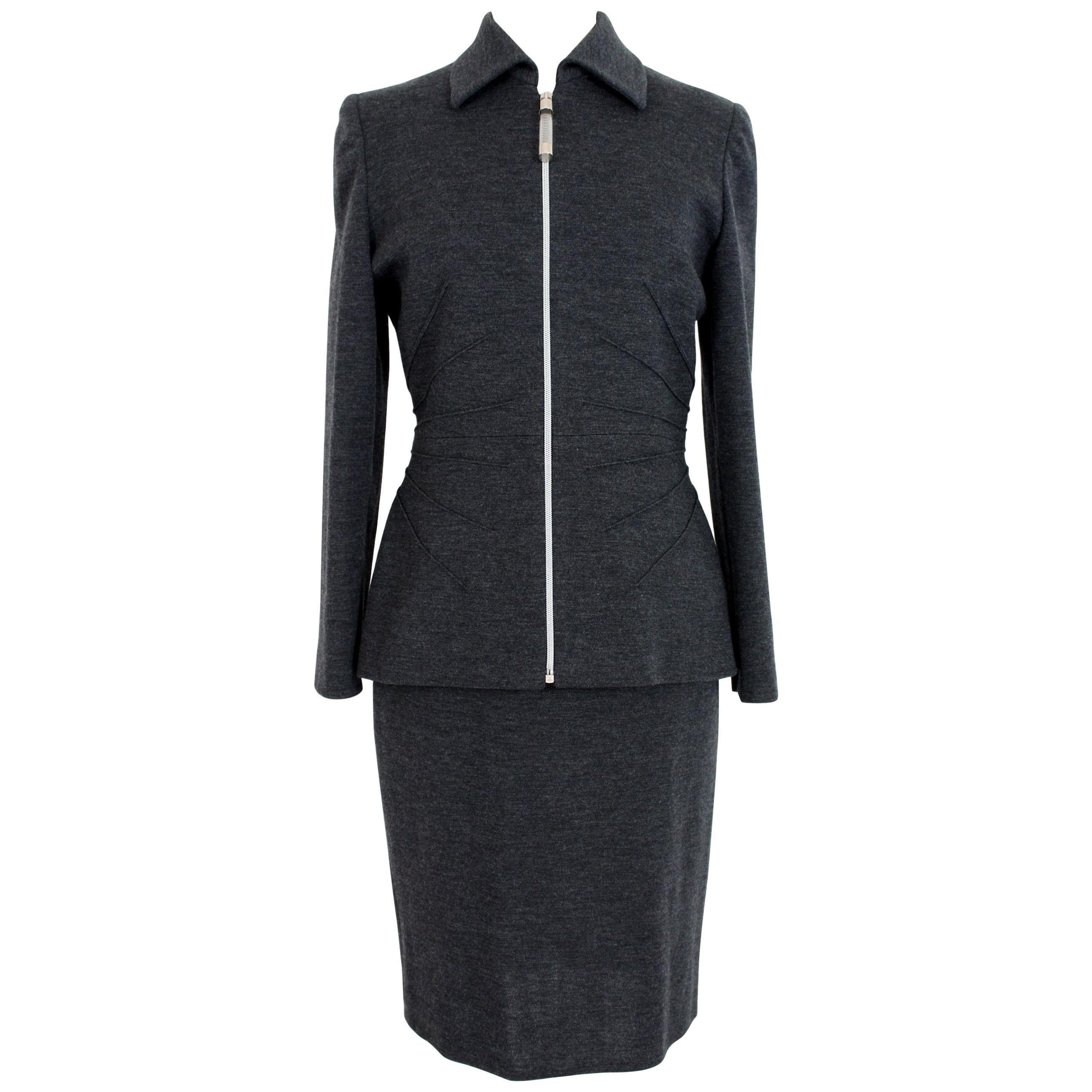 Gai Mattiolo Wool Gray Casual Suit Skirt and Jacket