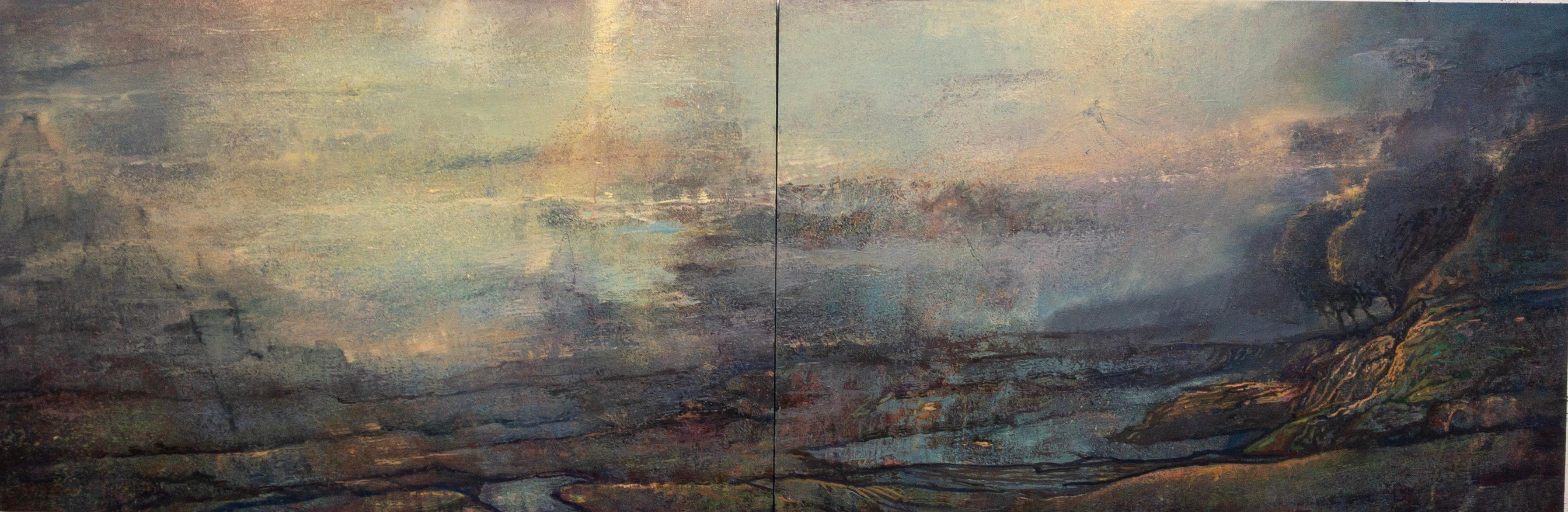 Letter to the Sixth Poet - 40x120 oil on canvas diptych - serene luxury