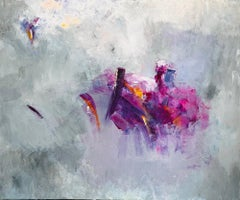 """Purple on Grey"" Acrylic On Canvas By Gail 60"" x 72"""
