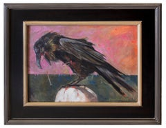 Crow on Skull, Symbolist Oil painting on canvas by Gail Potocki