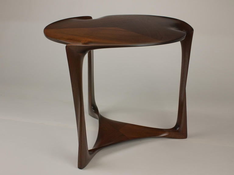 American Gail-Sculpted, Contemporary, Carved, Sensuous Sapele 3-Legged Occasional Table For Sale