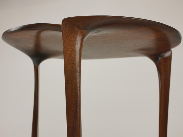 Hand-Crafted Gail-Sculpted, Contemporary, Carved, Sensuous Sapele 3-Legged Occasional Table For Sale