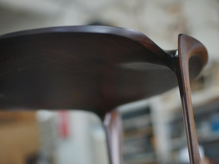 Gail-Sculpted, Contemporary, Carved, Sensuous Sapele 3-Legged Occasional Table In New Condition For Sale In Hoboken, NJ
