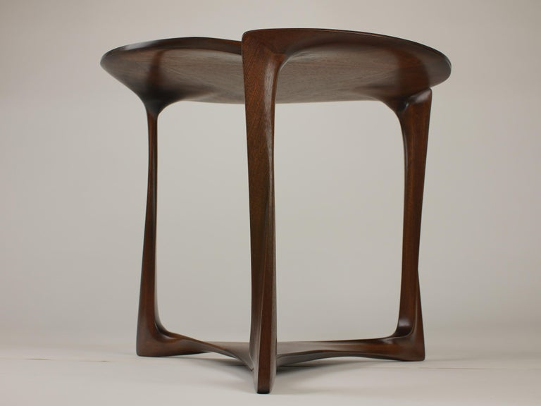Gail-Sculpted, Contemporary, Carved, Sensuous Sapele 3-Legged Occasional Table For Sale 1