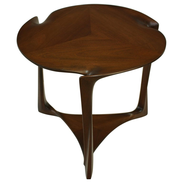 Gail-Sculpted, Contemporary, Carved, Sensuous Sapele 3-Legged Occasional Table For Sale