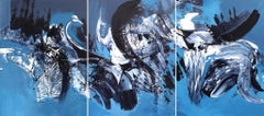 Joy In Motion (Triptych) - Large Scale Abstract Artwork