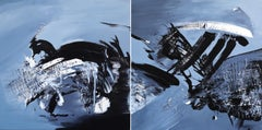 Taking the Plunge (Diptych) - Large Scale Black and White Artwork