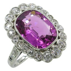 GAL 5.80 Carat Art Deco Pink Tourmaline Diamond Cluster White Gold Ring