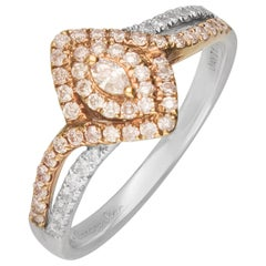 GAL Certified 0.43 Carat T.W. Pink Diamond 18 Karat Two-Tone Ring