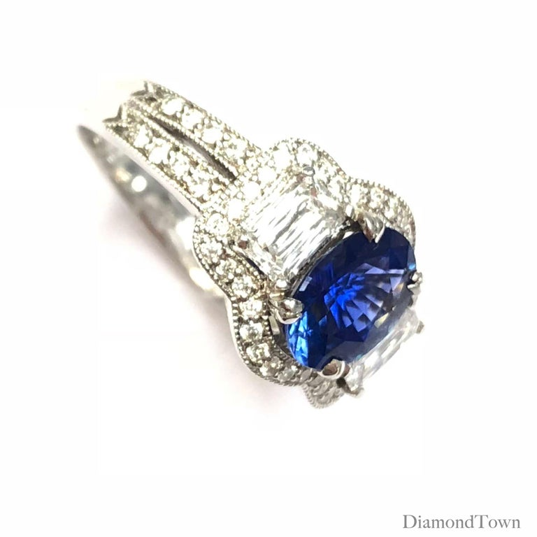 GAL Certified 1.44 Carat Oval Cut Sapphire and Diamond Ring in 18 Karat Gold In New Condition For Sale In New York, NY