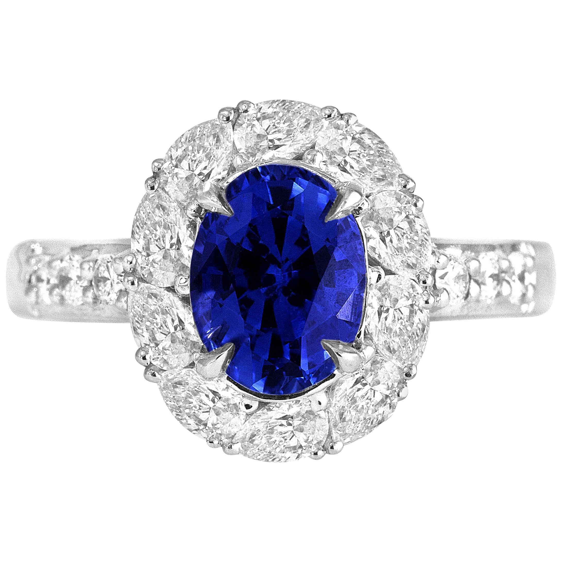 DiamondTown GAL Certified 1.84 Carat Oval Cut Ceylon Sapphire Ring