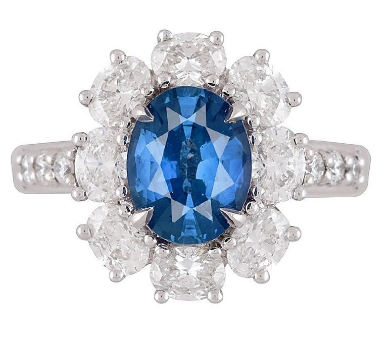 Women's GIA Certified 1.89 Carat Oval Cut Ceylon Sapphire and Diamond Cluster Ring For Sale