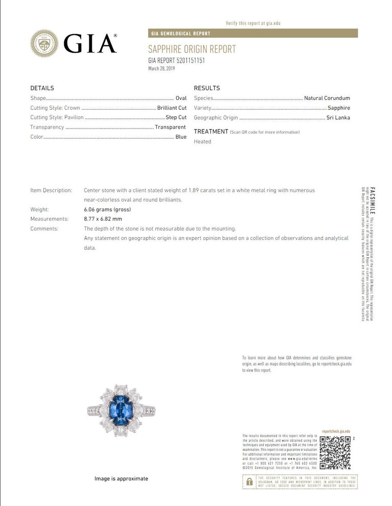 GIA Certified 1.89 Carat Oval Cut Ceylon Sapphire and Diamond Cluster Ring For Sale 1