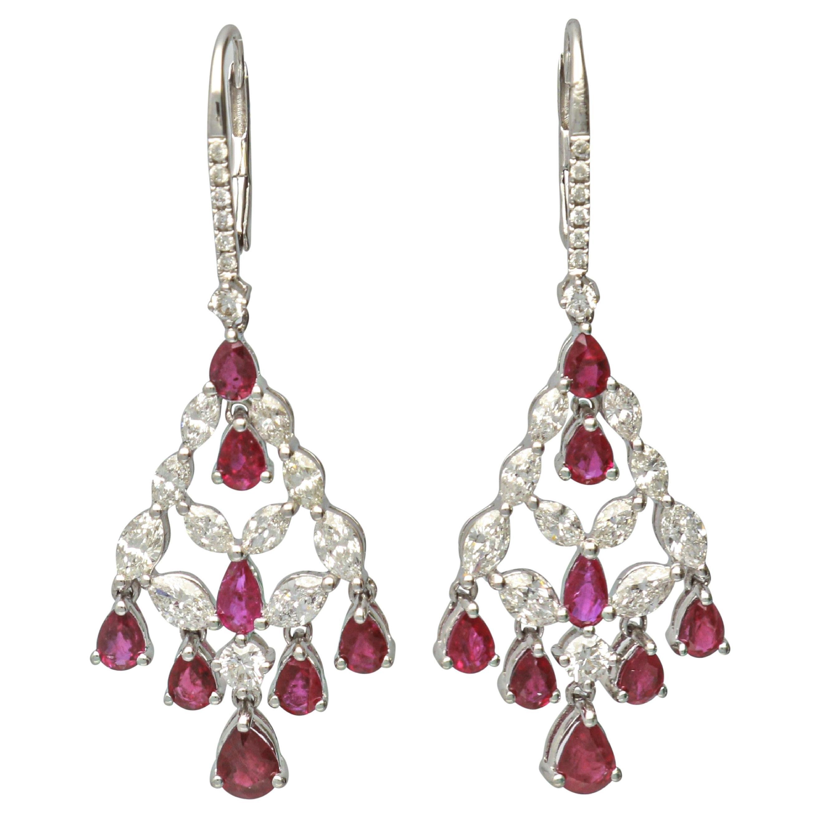 GAL Certified 3.78 Carat Ruby 18 Karat White Gold Leverback Earring