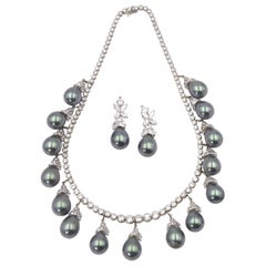 Gala CZ with Faux Gray Pearl Drops Sterling Riviera Necklace and Earring Jackets