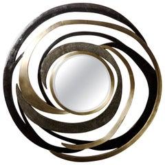 Galactic Mirror in Black Shagreen, Black Pen Shell and Brass by Kifu Paris