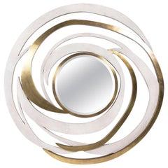Galactic Mirror in Cream Shagreen and Bronze-Patina Brass by Kifu Paris