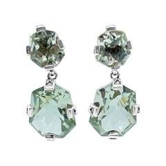 Galactical Freeform Drop Earrings in Green Amethyst & Engraved Sterling Silver