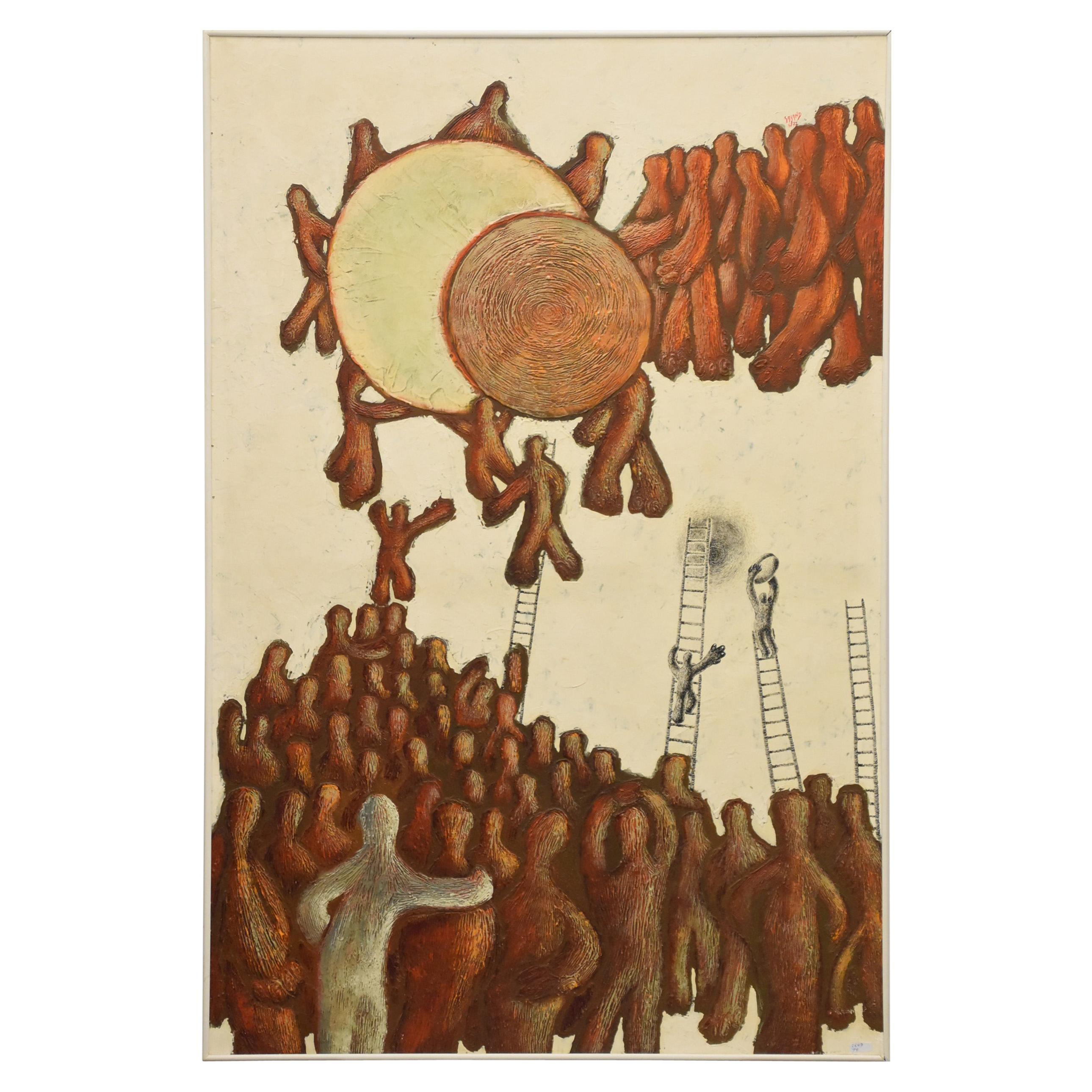 """GALAND Claude Huile Sur Panneau """"Surréaliste"""" Signée Galand, 1972"""