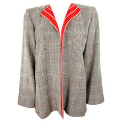 Galanos Amen Wardy Grey and Red Check Plaid Jacket
