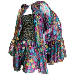 Galanos Beaded Floral Silk Chiffon Mini Dress with Matching Hooded Opera Coat.