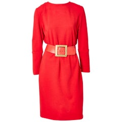 Galanos Belted Wool Knit Day Dress