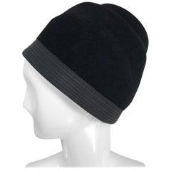 Galanos Black Fur Felt Shaped Turban Hat 1960s