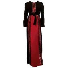 Galanos Black & Red Long Sleeve Sequin Gown