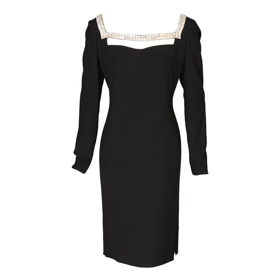 Galanos Black Silk Crepe Evening Dress with Unusual Diamante Neckline