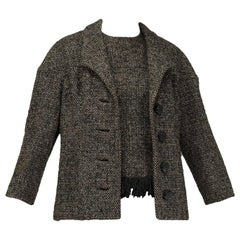 Galanos Brown Tweed Drop-Shoulder lJacket and Matching Fringed Shell - M, 1980s
