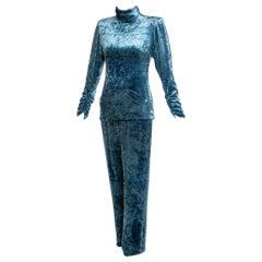 Galanos Couture Blue Velvet Evening Tunic Top Pants Suit, 1980s