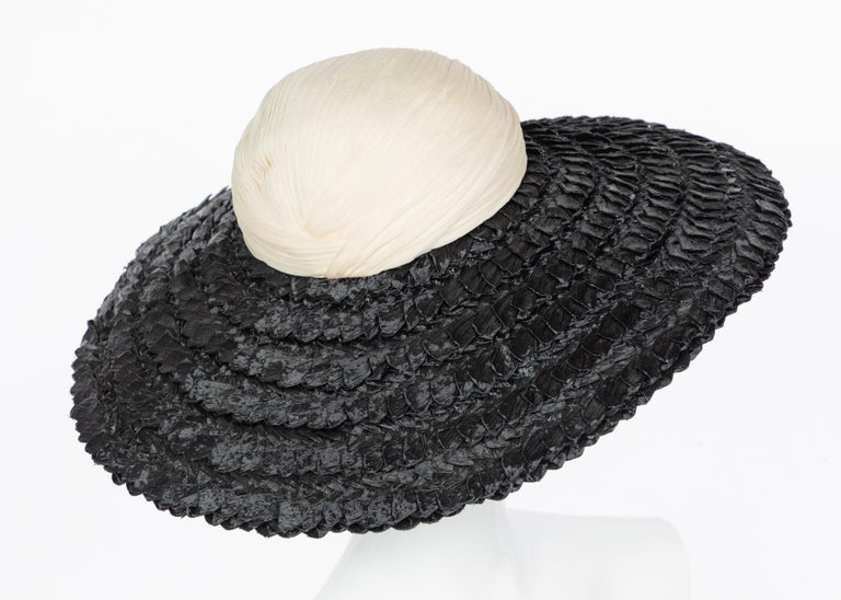 Galanos Couture Ivory Silk Black Raffia Hat In Excellent Condition For Sale In Boca Raton, FL