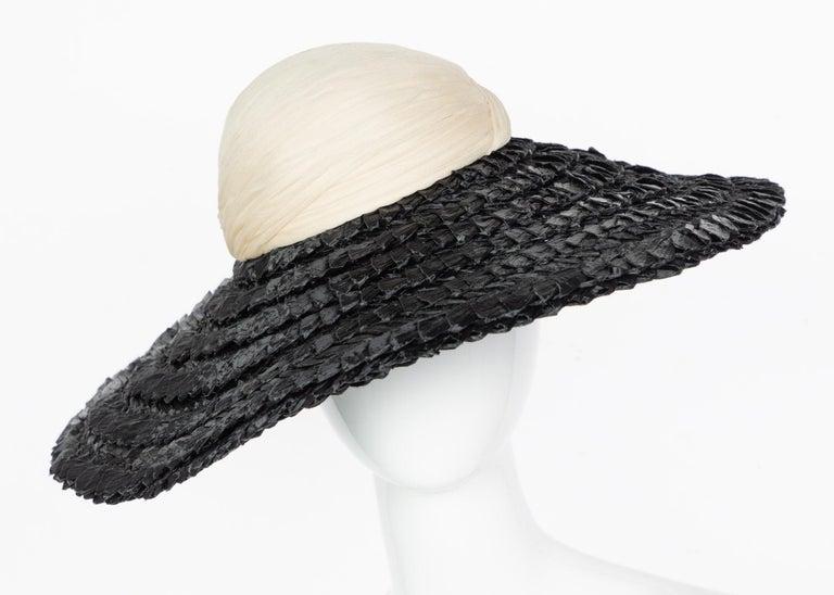 Women's Galanos Couture Ivory Silk Black Raffia Hat For Sale