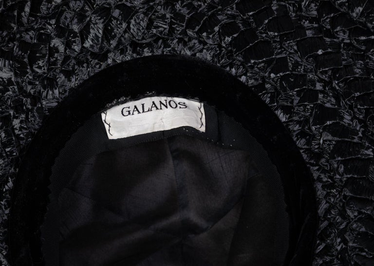 Galanos Couture Ivory Silk Black Raffia Hat For Sale 2
