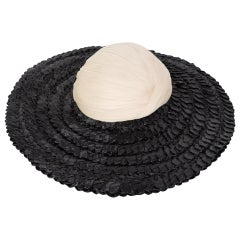 Galanos Couture Ivory Silk Black Raffia Hat