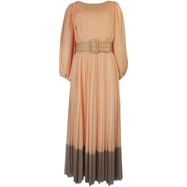 Galanos Couture Pleated Peach and Taupe Silk Chiffon Dress, Circa 1961