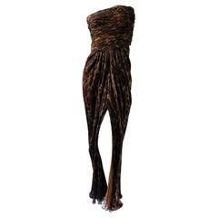 Galanos Exquisite Vintage Leopard Print Silk Strapless Evening Dress
