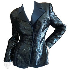 Galanos for Bergdorf Goodman Classic Black Sequin Tuxedo Jacket w Satin Lapels
