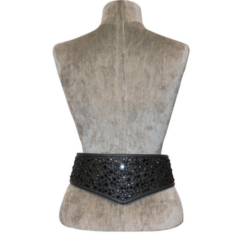 Galanos Gunmetal Rhinestone Wide Leather Belt. Vintage belt from 1980s in excellent condition   Measurements:   Length - 33.4 inches  Height - 4.8 inches