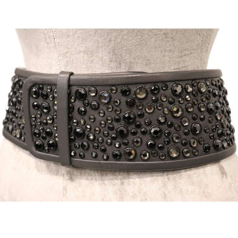 Galanos Gunmetal Rhinestone Wide Leather Belt In Excellent Condition For Sale In Los Angeles, CA