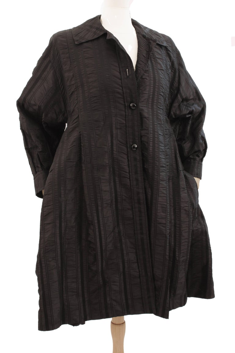 Galanos Neiman Marcus Vintage Black Striped Evening Wear Swing Coat  In Good Condition For Sale In Port Saint Lucie, FL