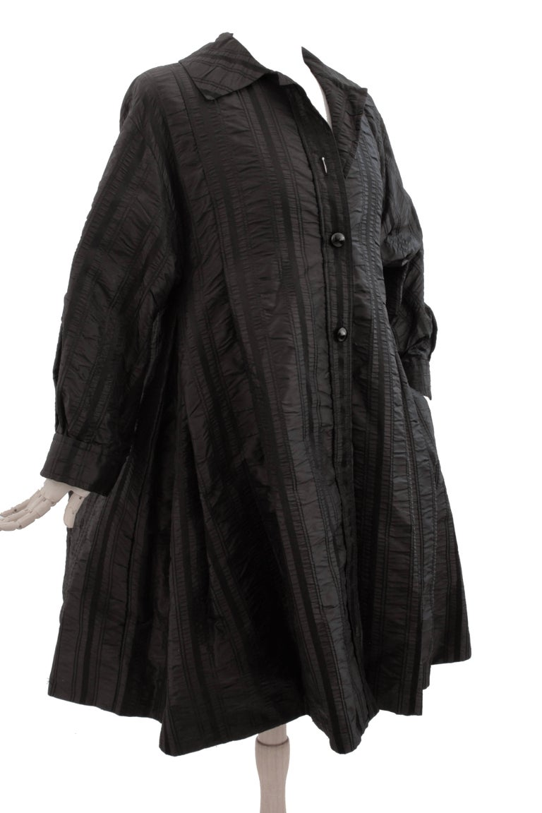 Women's Galanos Neiman Marcus Vintage Black Striped Evening Wear Swing Coat  For Sale