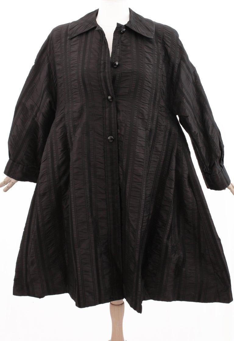 Galanos Neiman Marcus Vintage Black Striped Evening Wear Swing Coat  For Sale 5