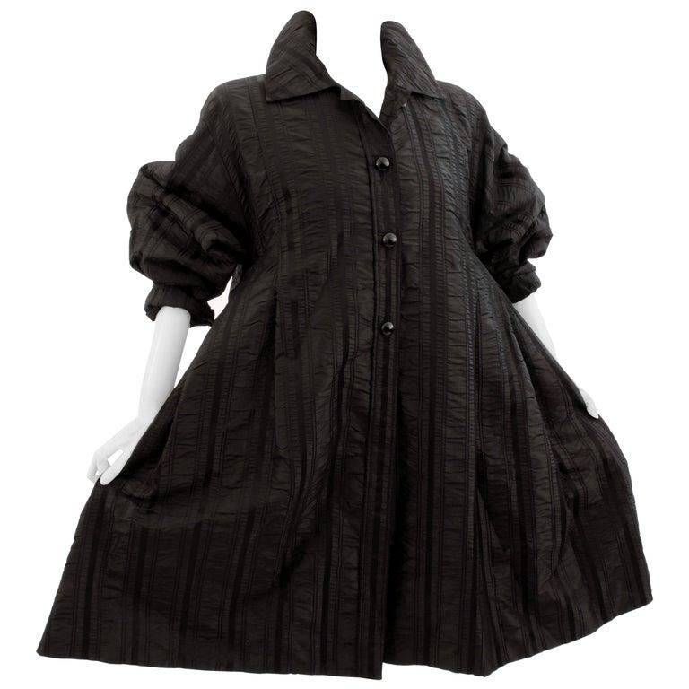 Galanos Neiman Marcus Vintage Black Striped Evening Wear Swing Coat  For Sale