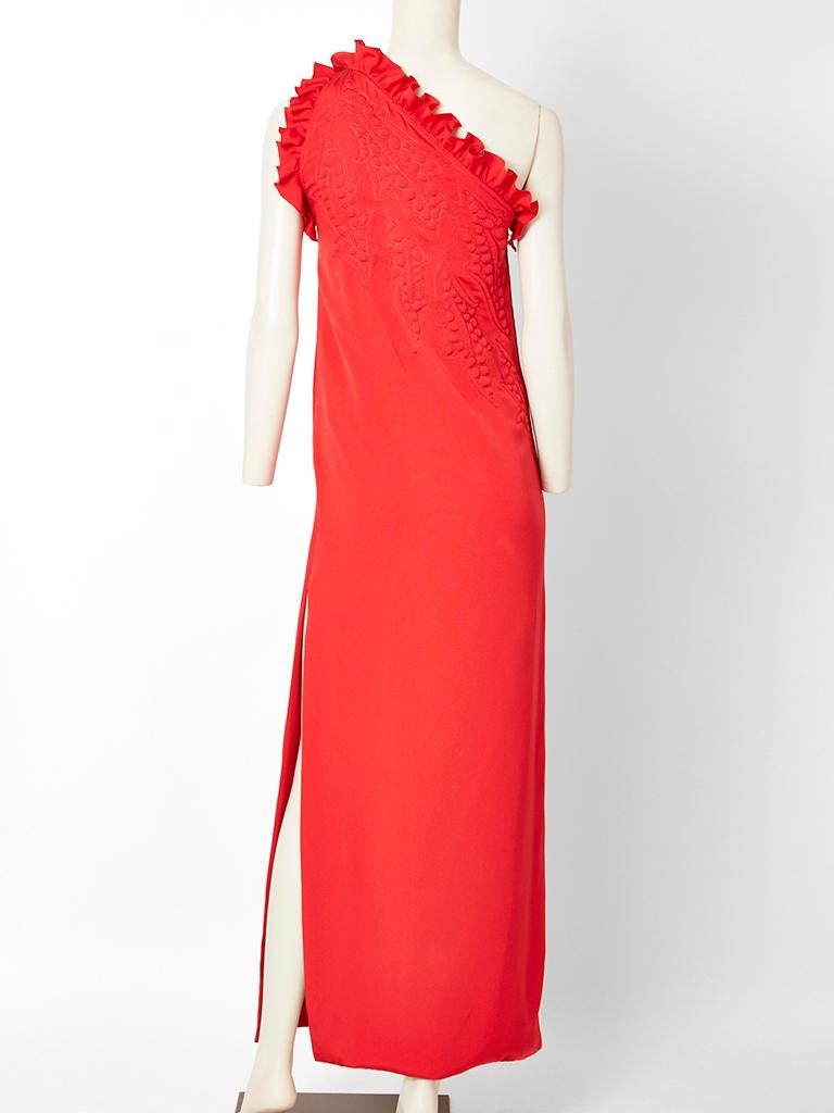 b0082eec6c9 Galanos One Shoulder Gown with Trapunto Detail For Sale at 1stdibs