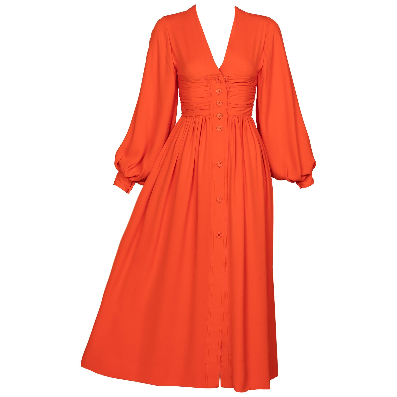 Galanos Orange Silk Plunge Neck Bishop Sleeve Dress, 1970s