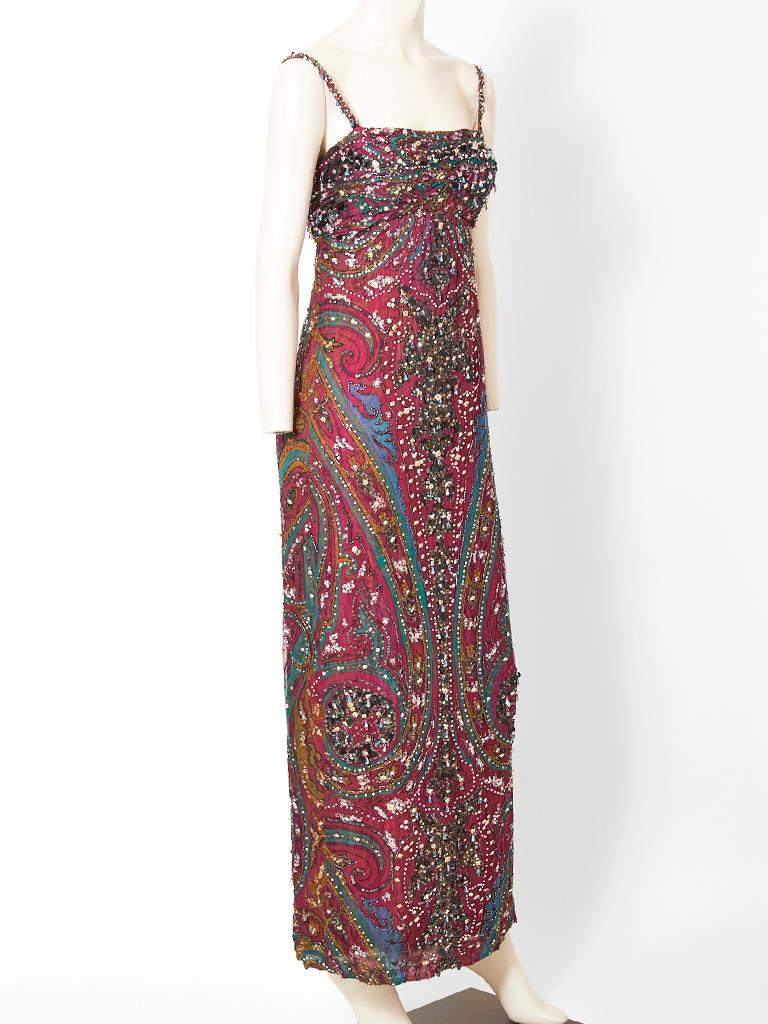 Brown Galanos  Paisley Pattern Beaded Gown For Sale